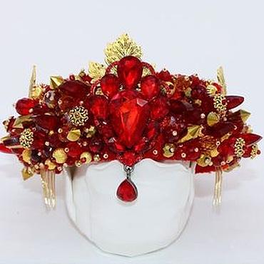 Украшения ручной работы. Ярмарка Мастеров - ручная работа Красно-золотая корона ободок в стиле Дольче Габбана. Handmade.
