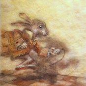 Картины и панно ручной работы. Ярмарка Мастеров - ручная работа Картина из шерсти по иллюстрации Алиса в стране чудес. Handmade.