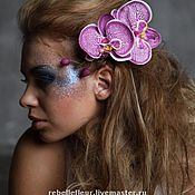 Украшения ручной работы. Ярмарка Мастеров - ручная работа Заколка-защип Орхидея фиолетовая пятнистая. Handmade.