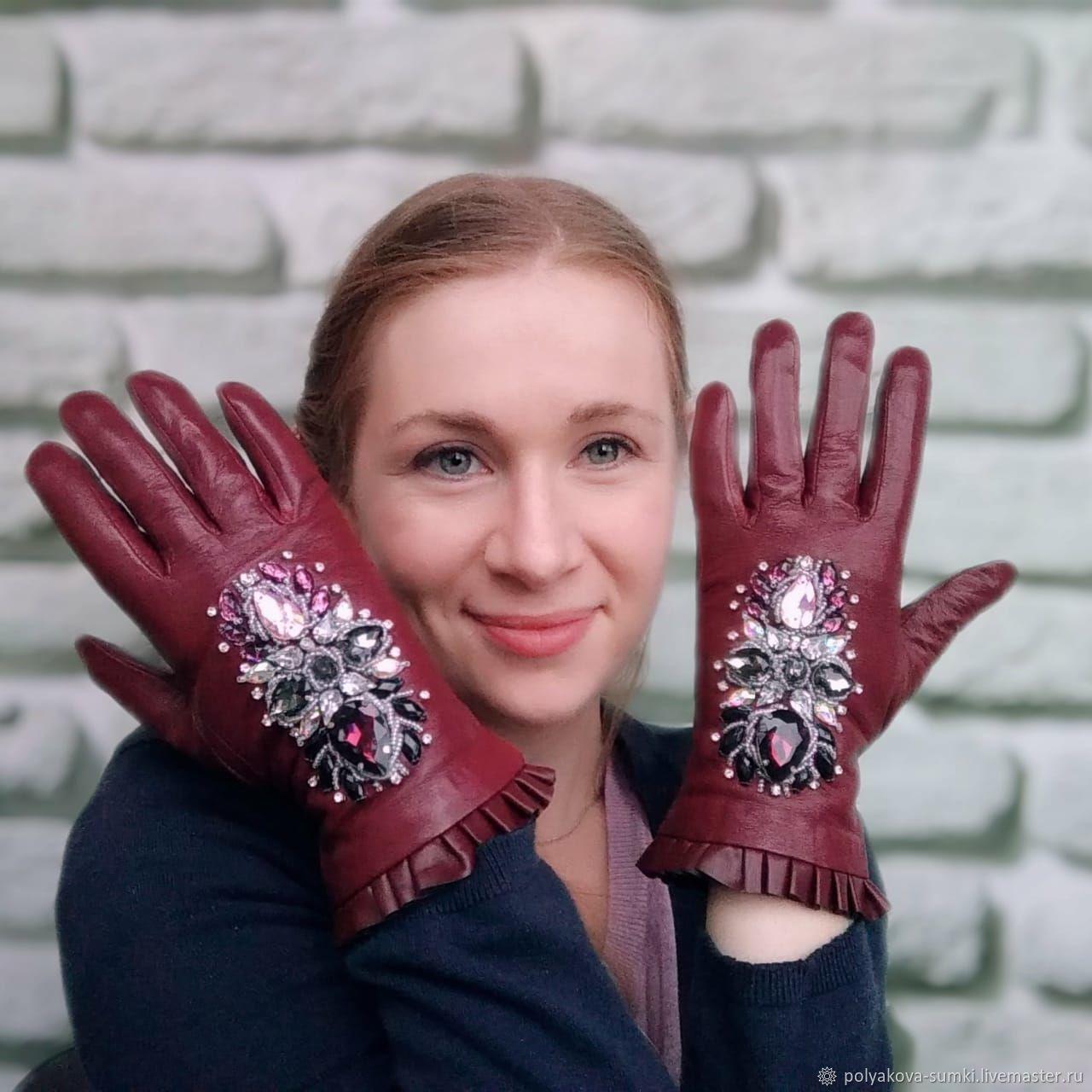 Перчатки кожаные, расшитые камнями, Перчатки, Екатеринбург, Фото №1