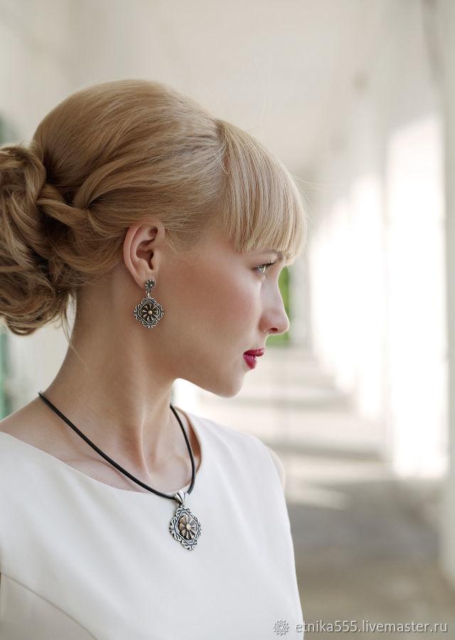 Enfilade poucette earrings with bronze insert, Earrings, Belaya Cerkov,  Фото №1