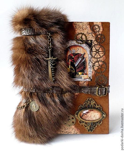 """Подарки для мужчин, ручной работы. Ярмарка Мастеров - ручная работа. Купить Ежедневник натуральная кожа, мех норки """"Рыцарский"""". Handmade."""