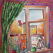 """Аксессуары ручной работы. Ярмарка Мастеров - ручная работа Батик шарф """" Два окна"""". Handmade."""
