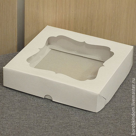 Упаковка ручной работы. Ярмарка Мастеров - ручная работа. Купить Коробка 16х16х3,5 с окном крышка-дно белая. Handmade.
