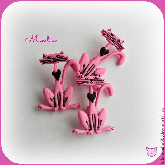 Шитье ручной работы. Ярмарка Мастеров - ручная работа. Купить Пуговицы Розовая киска, кот, кошка. Handmade. Пуговица