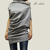 Одежда ручной работы. Ярмарка Мастеров - ручная работа Серый топ из хлопка/Повседневная блузка /F1155. Handmade.