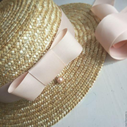 """Шляпы ручной работы. Ярмарка Мастеров - ручная работа. Купить Шляпка """"Канотье"""" Нежный персик. Handmade. Бежевый, купить канотье"""