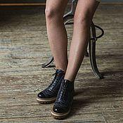 Обувь ручной работы handmade. Livemaster - original item Boots moccasin leather with uneven edge Dark blue. Handmade.