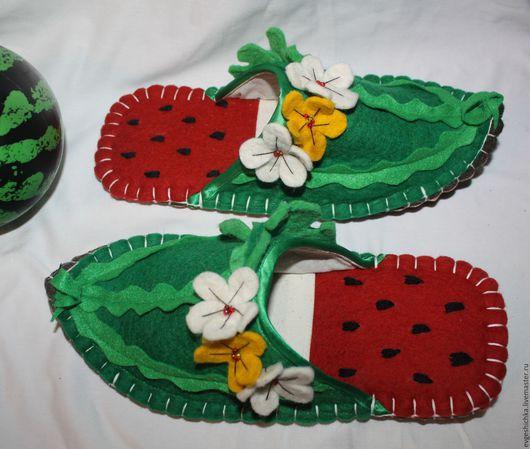 Обувь ручной работы. Ярмарка Мастеров - ручная работа. Купить Сочные Арбузы-султанки. Handmade. Зеленый, тапочки из войлока, арбуз