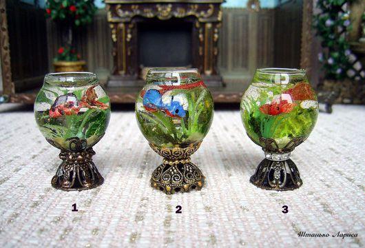 Миниатюра ручной работы. Ярмарка Мастеров - ручная работа. Купить Миниатюрный аквариум 1:12. Handmade. Комбинированный, кукольный аквариум