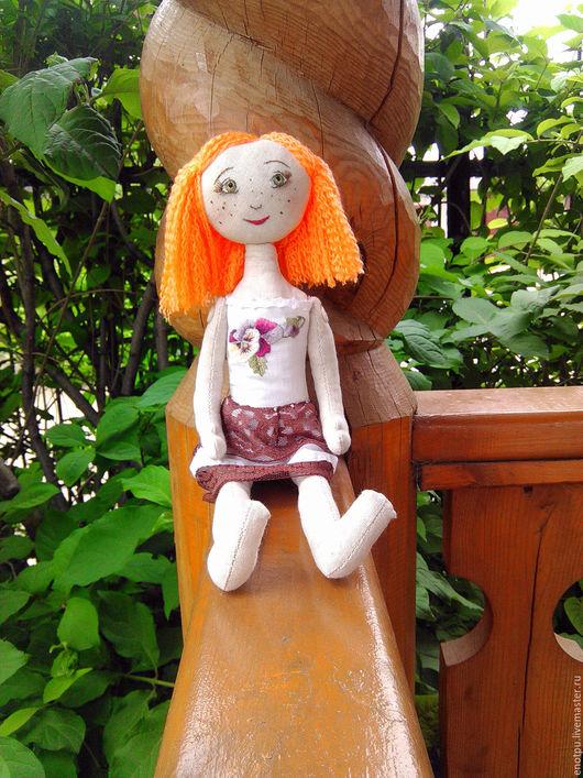 Коллекционные куклы ручной работы. Ярмарка Мастеров - ручная работа. Купить Текстильная куколка Ксюша. Handmade. Оранжевый, кукла в подарок
