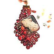 Украшения handmade. Livemaster - original item Pendant soutache, pendant decoration of Jasper Burgundy berries. Handmade.
