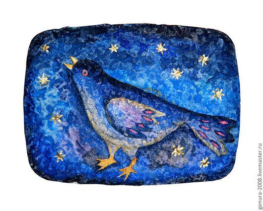 Животные ручной работы. Ярмарка Мастеров - ручная работа. Купить Синяя птица. Handmade. Тёмно-синий, птица, акварель