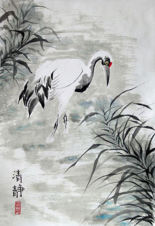 Животные ручной работы. Ярмарка Мастеров - ручная работа. Купить Из тумана. Handmade. Китайская живопись, картина в подарок, серый