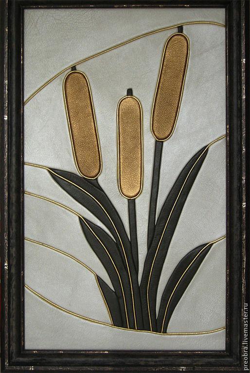 """Картины цветов ручной работы. Ярмарка Мастеров - ручная работа. Купить картина из кожи """"Камыши"""". Handmade. Картина из кожи, картина"""