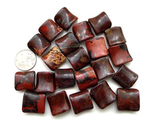 Для украшений ручной работы. Ярмарка Мастеров - ручная работа. Купить Яшма  красная 22 камня набор бусины ромбы. Handmade.