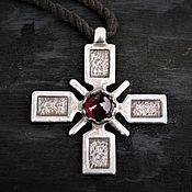 Украшения handmade. Livemaster - original item Equilateral cross with garnet. 925 sterling silver. Handmade.