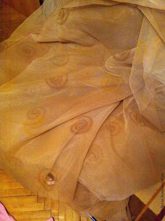 Текстиль, ковры ручной работы. Ярмарка Мастеров - ручная работа. Купить Органза со спиралями. Handmade. Бежевый, тюль, гардины