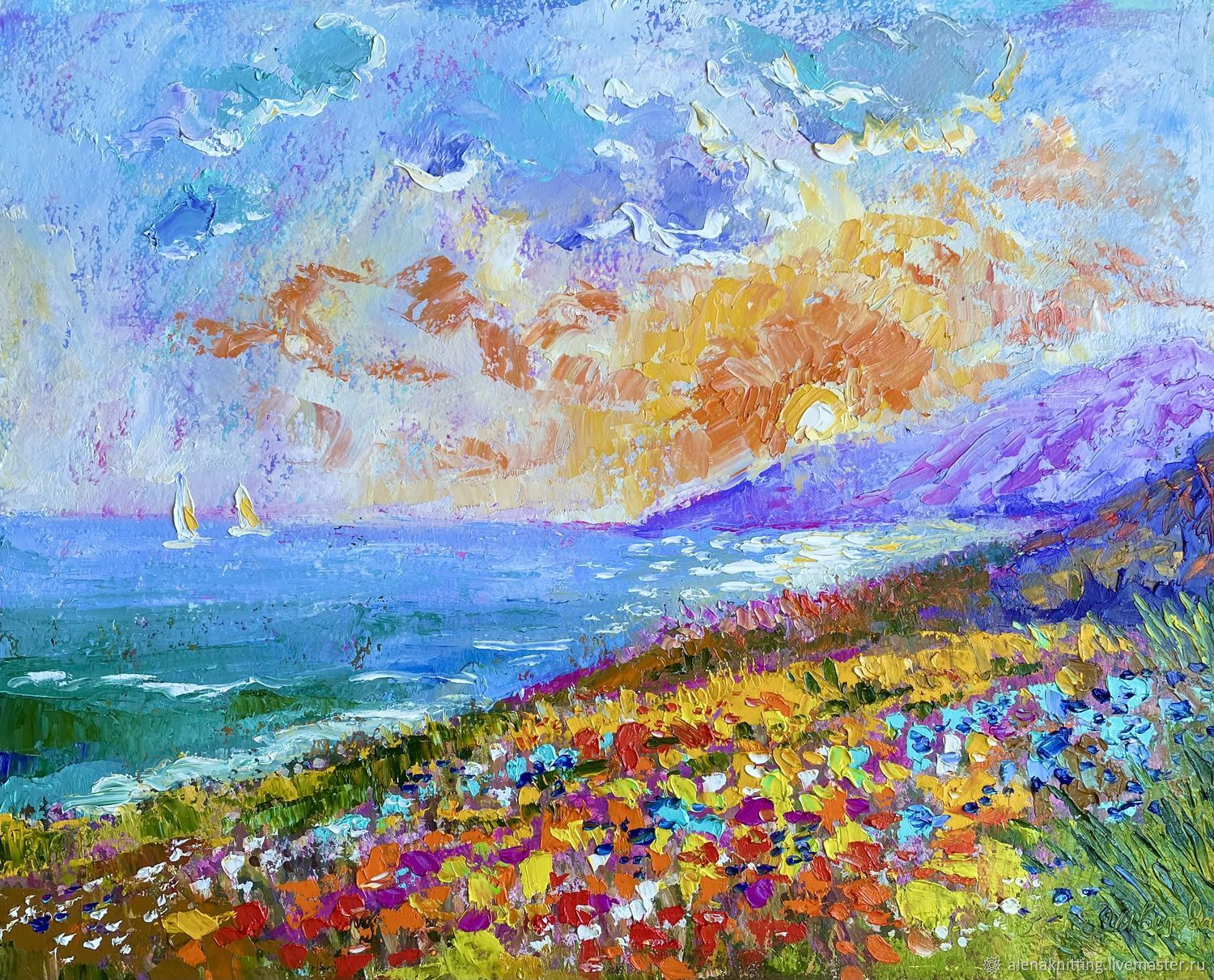 Oil painting Landscape ' Bright Sunrise', Pictures, Moscow,  Фото №1