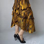 """Одежда ручной работы. Ярмарка Мастеров - ручная работа """"Тёмное золото"""" летняя юбка-запах. Handmade."""