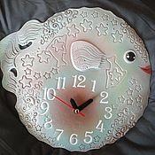 """Часы ручной работы. Ярмарка Мастеров - ручная работа Часы из белой глины """"Рыбка-Прекрасная"""" Diodon hystrix. Handmade."""