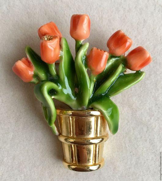 Винтажные украшения. Ярмарка Мастеров - ручная работа. Купить Винтажная брошь Тюльпаны. Handmade. Винтаж, подарок женщине, старинная брошь