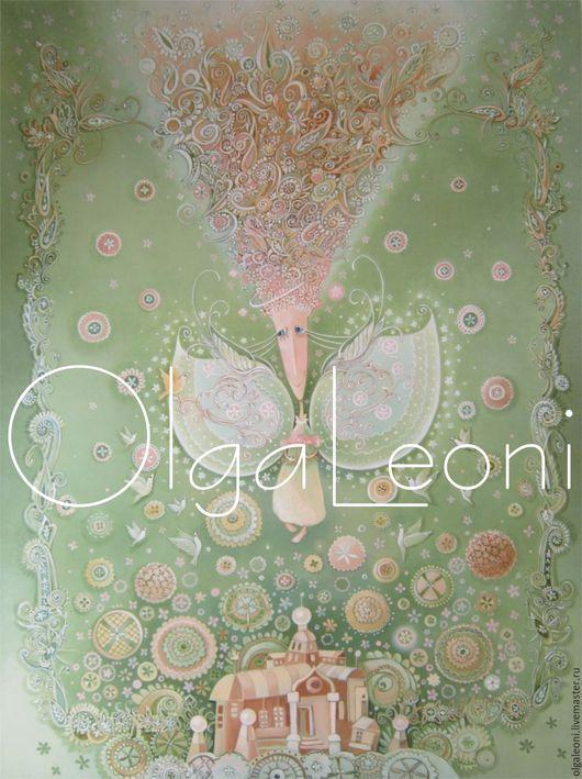 """Фантазийные сюжеты ручной работы. Ярмарка Мастеров - ручная работа. Купить Картина маслом """"Летний ангел"""". Handmade. Зеленый"""