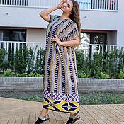 Одежда handmade. Livemaster - original item A chic floor-length oversized dress made of viscose with stripes. Handmade.