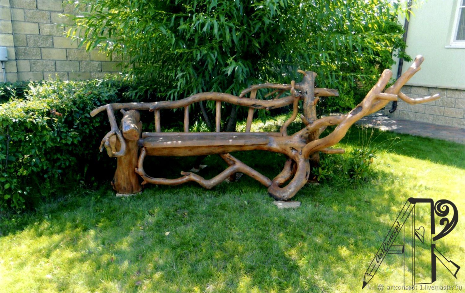 Bench, decorative garden out of driftwood and pine, Garden benches, Ryazan,  Фото №1