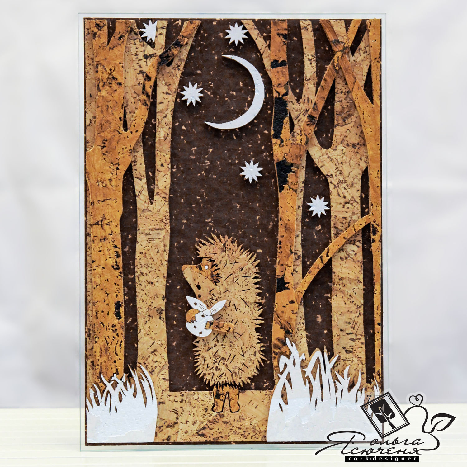 """Panel of cork """"Hedgehog in forest"""", Animal Painting handmade, Omsk, Фото №1"""