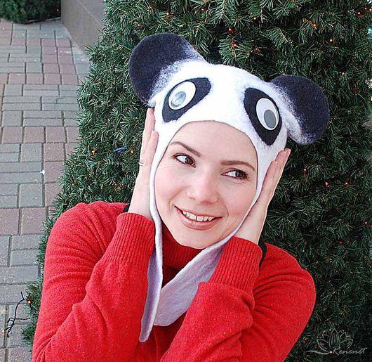 "Шапки ручной работы. Ярмарка Мастеров - ручная работа. Купить Валяная шапка ""Панда-па-панда"". Handmade. Белый"