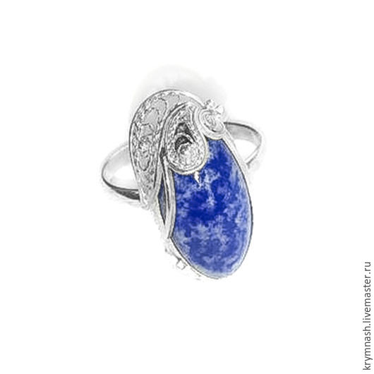 "Ring ""Azure"" from 925 silver with lapis lazuli, Rings, Moscow,  Фото №1"