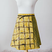 Skirts handmade. Livemaster - original item Felted mini skirt with a smell. Yellow plaid.. Handmade.
