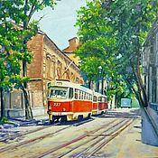 """Картины и панно ручной работы. Ярмарка Мастеров - ручная работа Картина """"Исторический трамвай или гость из прошлого"""". Handmade."""