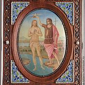 """Картины и панно ручной работы. Ярмарка Мастеров - ручная работа Панно """"Крещение Христа"""" эмаль. Handmade."""