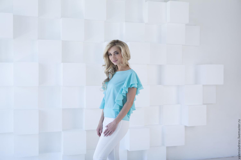 Blusa de verano, una blusa de color menta, Blouses, St. Petersburg,  Фото №1