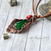 Украшения handmade. Livemaster - original item Spring Leaf pendant with jade and coral on leather cord. Handmade.