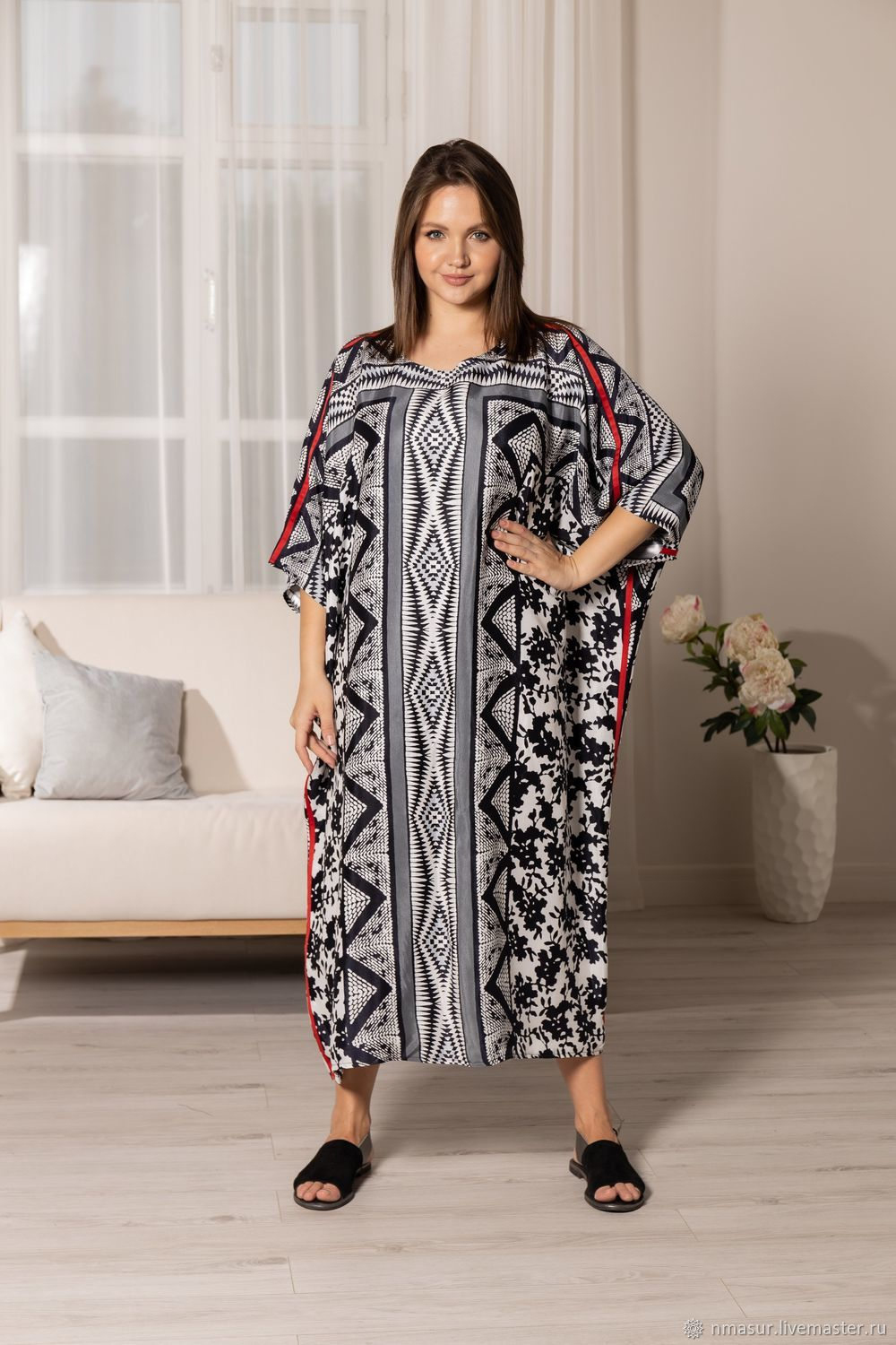 A chic floor-length oversize dress made of viscose with stripes, Dresses, Novosibirsk,  Фото №1