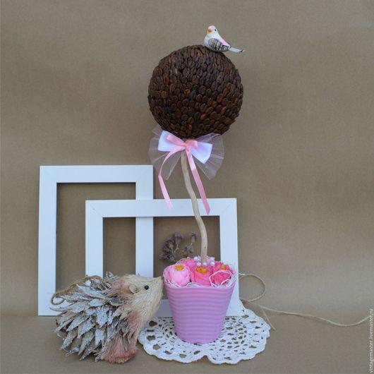 """Топиарии ручной работы. Ярмарка Мастеров - ручная работа. Купить Топиарий """"Птица счастья"""". Handmade. Розовый, декор дома, кофе"""