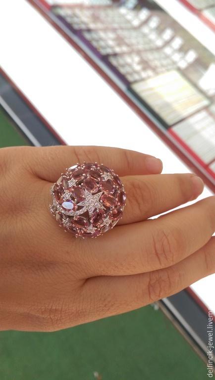 Кольца ручной работы. Ярмарка Мастеров - ручная работа. Купить Крупный серебряный перстень с султанитом Звездопад. Handmade. Разноцветный, султанит