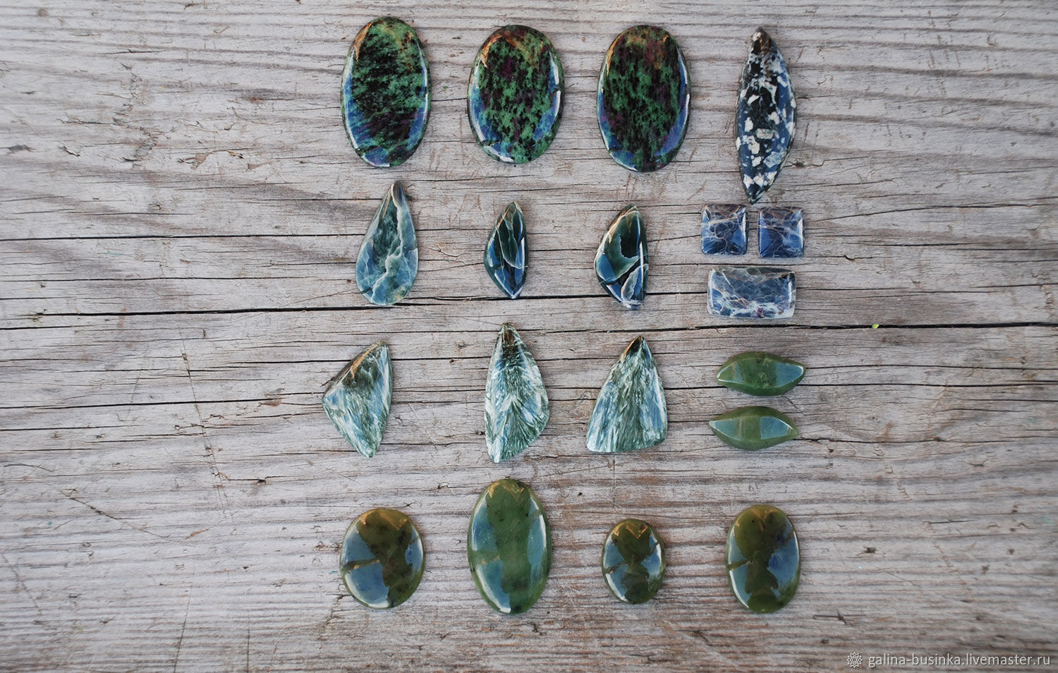 Ofit, seraphinite, jade cabochons, Cabochons, Moscow,  Фото №1