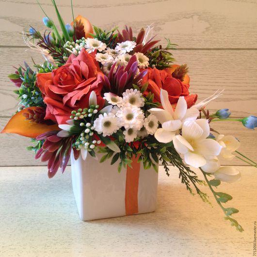 интерьерная композиция Паола подарок для дома для друзей подарок на любой случай подарок к празднику оранжевые розы крупные цветы в интерьере необычный букет