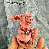Мягкие игрушки ручной работы. Ярмарка Мастеров - ручная работа Свинка Розовая Пальчиковая. Handmade.