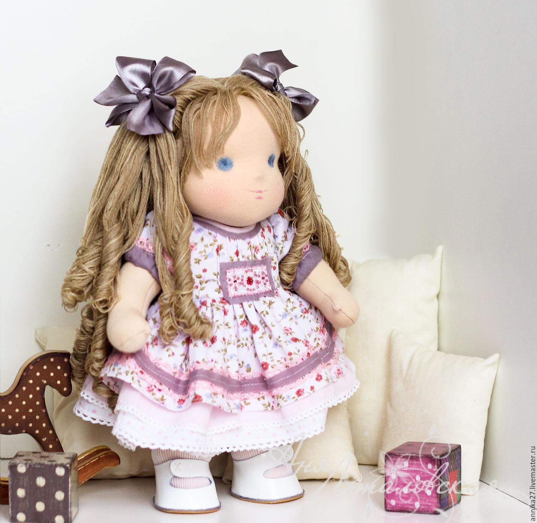 Купить Эвелина - вальдорфская кукла, вальдорфская игрушка, лошадка в горошек, в горошек, горошек, бежевый, шоколадный