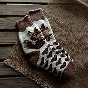 Аксессуары handmade. Livemaster - original item Positive fun socks with a pattern of squirrels in brown tones. Handmade.