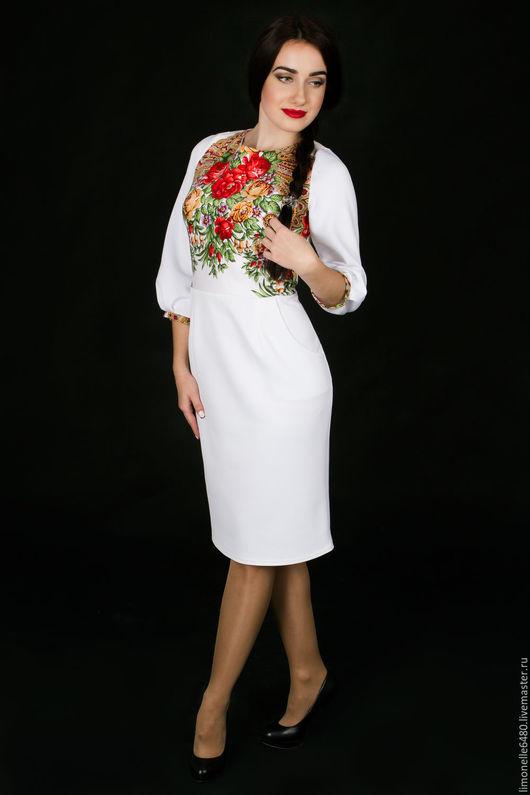 Платья ручной работы. Ярмарка Мастеров - ручная работа. Купить Платье с платком. Handmade. Белый, платье с платком