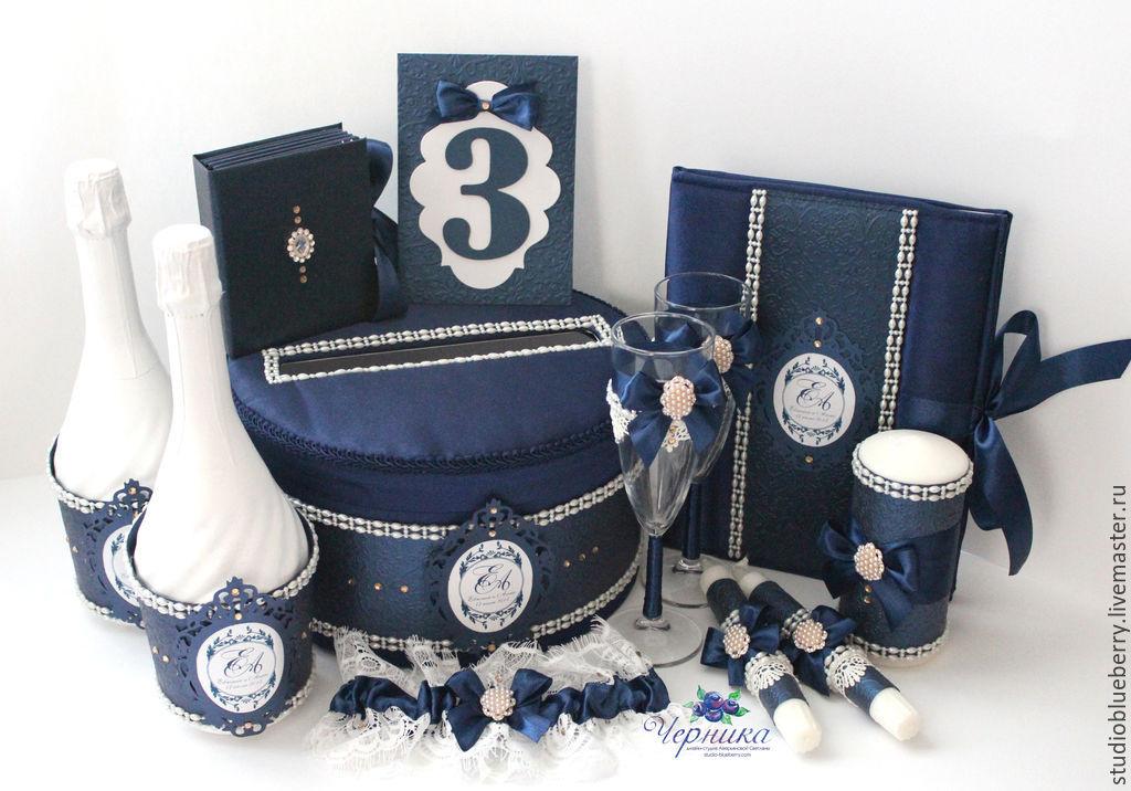 Свадебные аксессуары ручной работы. Ярмарка Мастеров - ручная работа. Купить Свадебные аксессуары в синем цвете. Handmade. Папка для свидетельства