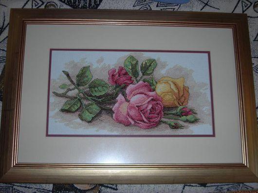 Картины цветов ручной работы. Ярмарка Мастеров - ручная работа. Купить Розы. Handmade. Канва, мулине мдс (dmc), мулине