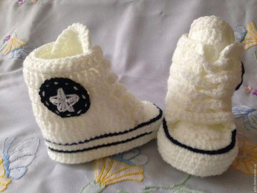 Для новорожденных, ручной работы. Ярмарка Мастеров - ручная работа. Купить Пинетки кеды Converse белые. Handmade. Белый, baby
