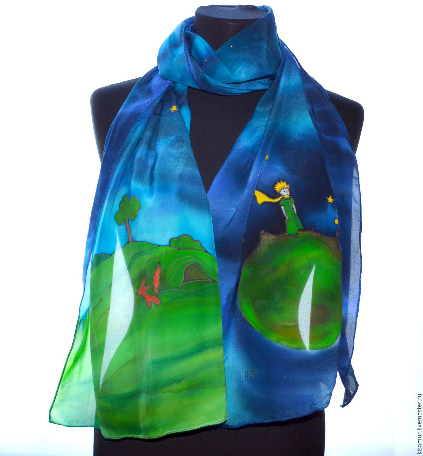 scarf silk at the Little Prince, Exupery, romantic scarf, Scarves, Vyazma,  Фото №1
